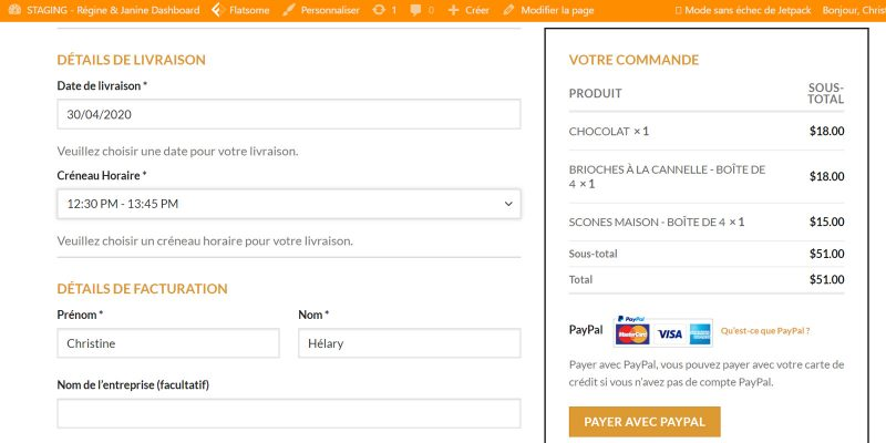 Delivery Slots on checkout page