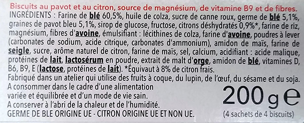 EU ingredient list with %