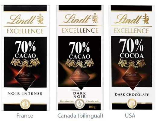 Lindt name - quantity - France - Canada - USA