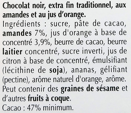 Chocolate ingredient list with % of ingredients and allergens in bold